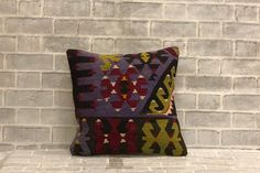 Boho Wool Yarn Kilim Throw Pillow   16x16 inches Embroidered Pillow   40x40 cm Floor Seating Euro Sham   Decorative Farmhouse Decor Pillow by Eastandbull on Etsy Boho Throw Pillows, Kilim Pillows, Handmade Pillows, Decorative Pillows, Floor Seating, Euro Shams, Geometric Pillow, Glass Collection, Wool Yarn