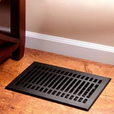 Check out the Contemporary Cast Iron Floor Register in Appliances, Hoods & Vents from Signature Hardware for Floor Register Covers, Baseboard Register, Floor Vent Covers, Vent Registers, Baseboard Heater Covers, Cast Iron, It Cast, Black Floor, Flooring