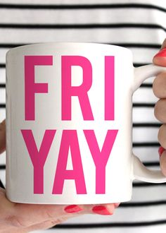 Celebrate every Fri-Yay with this premium FRI YAY mug made of a durable white ceramic. - 11oz Premium Coffee Mug - Double Sided - Dishwasher & Microwave safe - Printed in the USA Please Note: - Mugs a