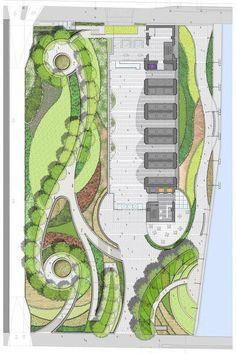 150 North RiversideGoettsch is part of Landscape plans - Site Plan Courtesy of Goettsch Partners Landscape Architecture Drawing, Landscape Design Plans, Concept Architecture, Architecture Jobs, Seattle Architecture, Landscape Bricks, Indian Architecture, Landscape Fabric, Architecture Portfolio