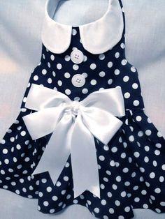 Navy blue polka dot dress by dressmeupscottie on Etsy Girl Dog Clothes, Yorkie Clothes, Dog Clothes Patterns, Coat Patterns, Dog Dresses, Girls Dresses, Pet Fashion, Dog Sweaters, Blue Polka Dots
