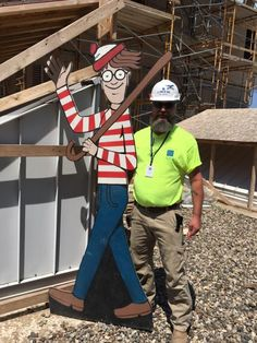 Construction worker Jason Haney is a foreman at a construction site just across from Memorial Children's Hospital in South Bend, Indiana where he is working on an expansion. Knowing the children were in need of entertainment and something to look forward to, he created an 8-foot tall Waldo to hide on the construction site somewhere new each day. The children were challenged to a life-sized game of Where's Waldo every morning.