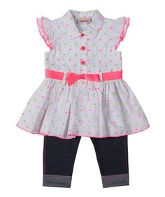 Another great find on #zulily! White Floral Tunic & Leggings - Girls by Little Lass #zulilyfinds