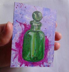 Apothecary Alchemist Bottle, original ACEO painting £5.00