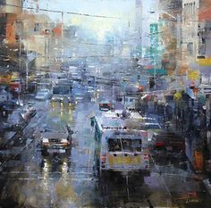 San Francisco Blue and Gray by Mark Lague Oil ~ 24 x 24
