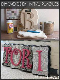 DIY Wooden Initial Plaques - LOVE these! { lilluna.com }