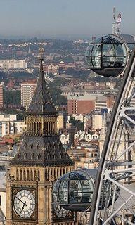 England, Big Ben, and the London Eye capsule.