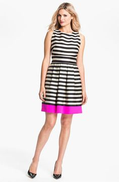 Eliza J Stripe Crepe Fit & Flare Dress | Nordstrom