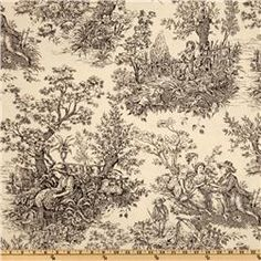 "Timeless Treasures French Court 108"" Quilt Backing Toile Black/Cream   $18.98 per Yard"