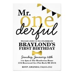 Mr One-derful Clever Gold and Black 1st Birthday Invitation for a Boy