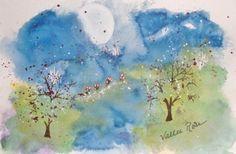 Full Moon art Signed watercolor OOAK by EnchantedRoseProduct