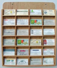Oak Wood Business Card Wall Mount Display Rack