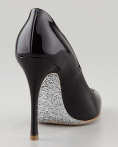 Miu Miu Glitter-Sole Patent Pointed-Toe Pump, Black - Neiman Marcus