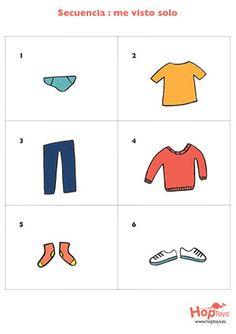 Secuencias de pictogramas para aprender a vestirse solo, lavarse los dientes, ducharse... Autonomía. Aprendizaje visual