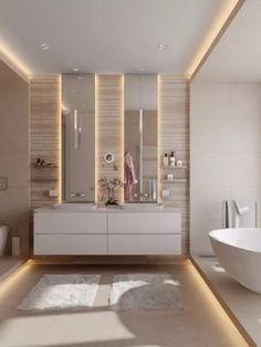 Master bathroom designs that feature creative bathroom layouts, modern bathroom furniture designs & beautiful bathroom accessories, plus bathroom decor tips. Double Sink Bathroom, Bathroom Sink Vanity, Double Sinks, Bath Vanities, Bathroom Mirrors, Vanity Mirrors, Double Vanity, Diy Vanity, Bathroom Storage