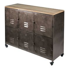 With its rough, raw materials and authentic design, this modish WAYNE pine and metal sideboard is a piece with a marked industrial style. Industrial Storage Cabinets, Industrial Style Furniture, Vintage Industrial Decor, Vintage Decor, Industrial Farmhouse, Interior Wall Colors, Office Interior Design, Office Interiors, Side Board