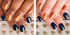 Tatiana: Golden burnt orange microglitter Kristy: Midnight blue crème