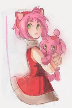 Doodle - Amy Rose and Chao by papelmarfil on deviantART
