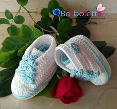Baby Shoes, Newborn Shoes, Baby Sneakers, Babyshower, Converse, Crochet Shoes, Crochet Baby Booties, White-Blue,Gift, Allstar, Baby Gift