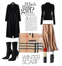 """""""Black & Tan"""" by cdlight ❤ liked on Polyvore featuring Burberry, MAC Cosmetics and winterscarf Mac Cosmetics, Burberry, Winter, Polyvore, Image, Black, Fashion, Moda, Black People"""
