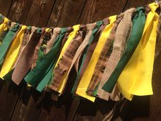 John Deere Green Yellow and Burlap Fabric Garland - Boys Room  - country decorations - birthday party - photography prop - brown plaid - on Etsy, $21.00