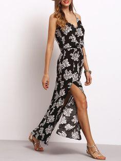 Black Spaghetti Strap Floral Split Dress