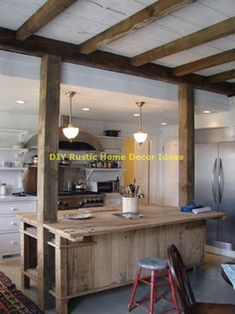 Awesome 38 Rustic Traditional Kitchen Design Ideas To Try This Year Rustic Kitchen Lighting, Rustic Kitchen Island, Rustic Kitchen Design, Vintage Kitchen Decor, Interior Design Kitchen, Wooden Island, Western Kitchen, Narrow Kitchen, Diy Interior