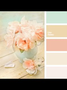 Color Palette Delicate shades of peach and pink will look beautiful in a bedroom. Also, such colors will suit for Shabby Chic and will fit perfectly into this romantic s. Colour Pallette, Color Palate, Color Combos, Peach Color Schemes, Color Trends, Shabby Chic Kitchen, Shabby Chic Style, Shabby Chic Decor, Shabby Chic Colors