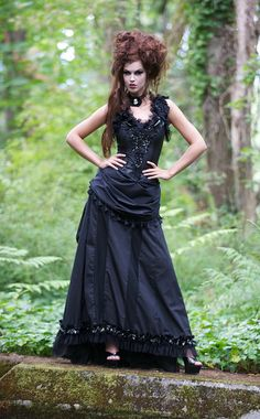 Gothic goth vampire full length Halloween costume dress with ruffles and bustle wrap belt