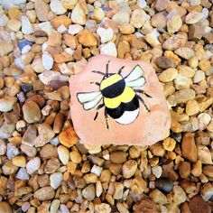 Hand Painted Bee Bumble Garden Rock Decor Honey Paperweight