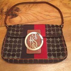 Adorable KATE SPADE handbag!! Super cute 100% authentic KATE SPADE brown and red trademark printed handbag.  Barely used.  Brown leather strap and buckle backing.  Gold hardware.  Cloth body.  8 in X 5 in.  16 in strap. kate spade Bags Shoulder Bags