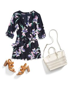 Stitch Fix Spring Resort Wear: Floral Romper  I love this romper and the purse would be great for the beach!
