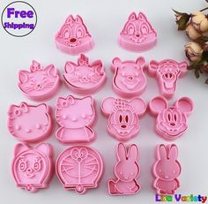 Gratis Verzending 7 sets mickey konijn Winnie hello kitty cookie cutters mold