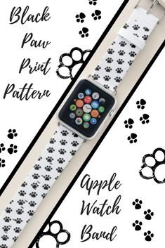 Shop Black Paw Print Pattern Apple Watch Band created by Paw_Print_Gifts. Apple Watch Bands Mens, Apple Watch Bands Fashion, Best Apple Watch, Apple Watch Series, Best Mothers Day Gifts, Sale Promotion, Series 4, Cat Gifts, Smartwatch