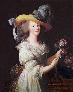 Maria Antonietta in abito di mussola bianca e cappello di paglia. Dipinto di Élisabeth Vigée-Le Brun (1783).