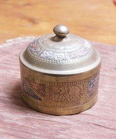 Vintage Indian Brass and Copper Round Metal Trinket Box with