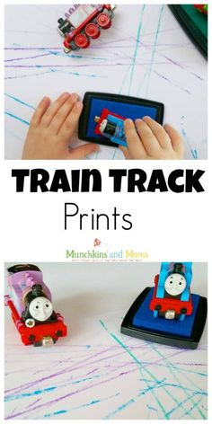 Train Track Prints - Munchkins and MomsTrain Track Prints- a simple art activity for transportation week in preschool! toytrainsTransportation Activities for Preschoolers - Mom on the MoveTransportation activities Transportation Crafts for Kids - Crafty Transportation Activities, Train Activities, Art Activities For Kids, Toddler Activities, Therapy Activities, Trains Preschool, Preschool Crafts, Daycare Crafts, Preschool Ideas