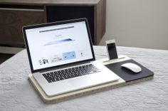 Minimal laptop table for stylish computing away from the desk - design by Slate Mobile AirDesk.
