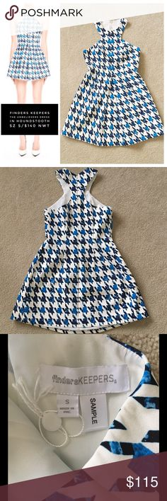Finders Keepers Unbelievers Dress/Houndstooth RARE NWT Finders Keepers Sample of best selling, super sexy Unbelievers dress in white Houndstooth.  I don't think the dress was ever manufactured in white Houndstooth, just blue (and also in the playsuit).  Your chance to have a very rare, authentic Finders Keepers dress, celeb- loved Aussie brand. The Unbelievers dress is a mini dress with cut out neckline and pleated skirt. The dress features the exclusive houndstooth print. Armpit seam to…