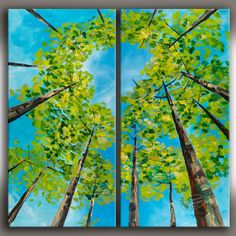 Looking Up, Fresh Forest Art, Contemporary Huge Original acrylic Painting 48x48. via Etsy.
