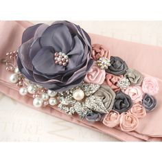 Bridal Sash in Pink and Grey with Satin, Taffeta, Brooch, Jewels and... ❤ liked on Polyvore