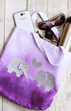 How to Make an Ombre Dyed Fabric Tote Bag. This is so cute. I love the purple and glitter combo