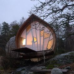 Ett is a wonderful Swedish woodland micro house designed by Torsten Ottesjö which takes the shape of a herring. Its exterior shape looks exactly as a fish in movement and the wooden roof imitates perfectly its skin.
