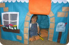 homemade by jill: felt playhouse - like the idea of using mesh for windows