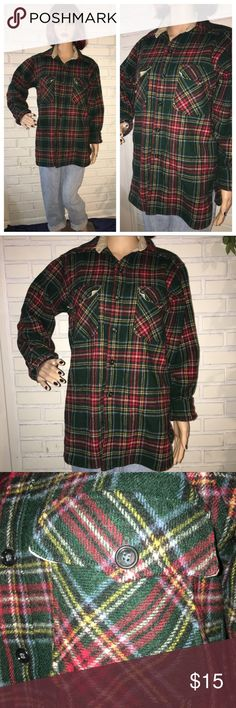 "🍂Vintage Thick Woolrich Flannel 🍂 So thick and warm wool flannel from Woolrich. Beautiful colors of red and green give this flannel Christmas and fall vibes. Fits over sized or not.  Wear it with some leggings and knee high socks and boots! No flaws, like new. Says large but fits best as a medium.   Brand: Woolrich Fabric: 85% wool, 15% nylon Pit to pit: 21"" Waist: 21"" Total length: 29"" Arm: 22.5""  Bundle 3 items to save 30%! 🎉 Let me know if you have any questions! 😊 Tops Button Down…"