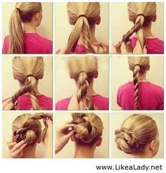 Twisty braided bun... Our favorite for recitals, they stay tight & add depth to thin hair.