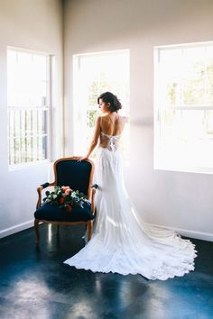 Gorgeous illusion back wedding dress. Back necklace by DeLaLunaUS on Etsy