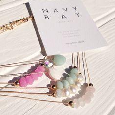 Pastels, pinks and pearls #pastels #pink #gemstones #mint #moonstone #jewellery #gift #pearl #gold #beach #beachjewellery #handmade #navybay