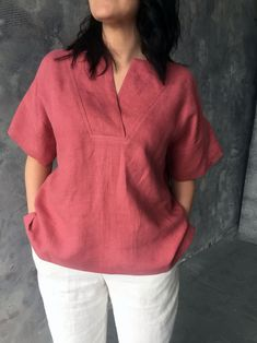 Loose kimono blouse with short sleeves with V-neck from natural organic washed linen, Salmon color pink linen top, MaTuTu Linen Style blouse Source by matutulinenstyle clothing Short Kurti Designs, Kurti Neck Designs, Kurta Designs Women, Kurti Designs Party Wear, Blouse Designs, Casual Indian Fashion, Kimono Blouse, Stylish Dress Designs, Short Tops