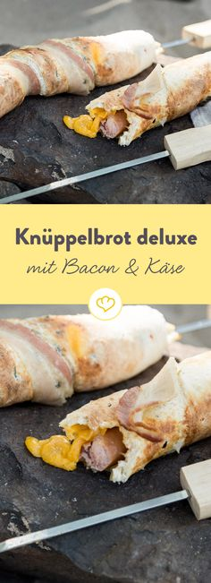 Knüppelbrot deluxe: Hotdog-Stockbrot mit Bacon und Käse American fast food from the campfire? Crispy sausage with spicy cheese in a coat of olive chilli dough – the stick bread for the big hunger. Hot Dog Recipes, Barbecue Recipes, Yummy Recipes, American Fast Food, Homemade Carrot Cake, Snacks Für Party, Best Food Ever, Diy Food, Bacon
